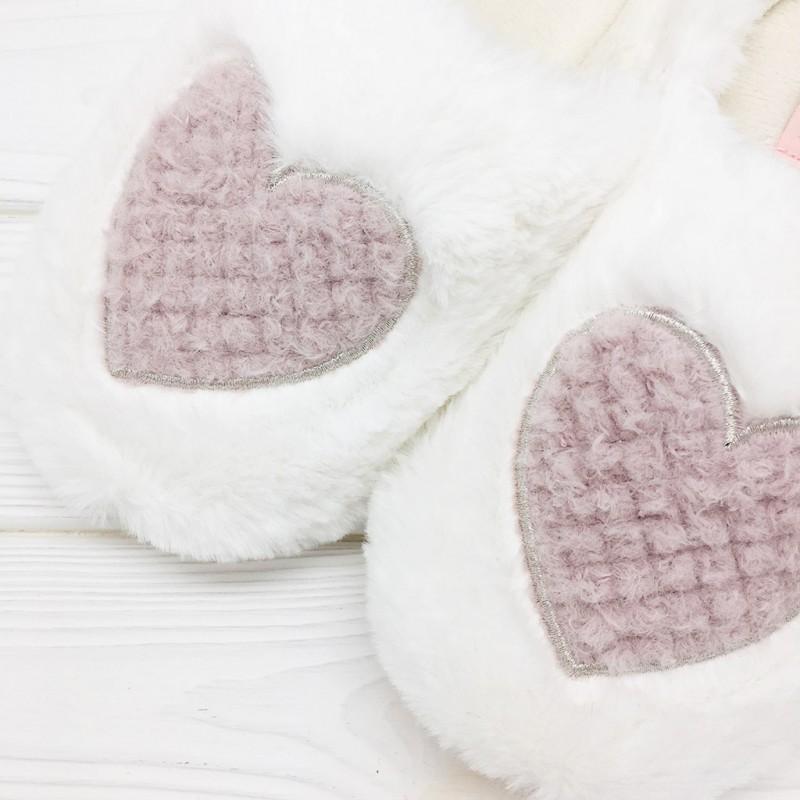 Тапочки Halluci «Пушистые сердечки» белые