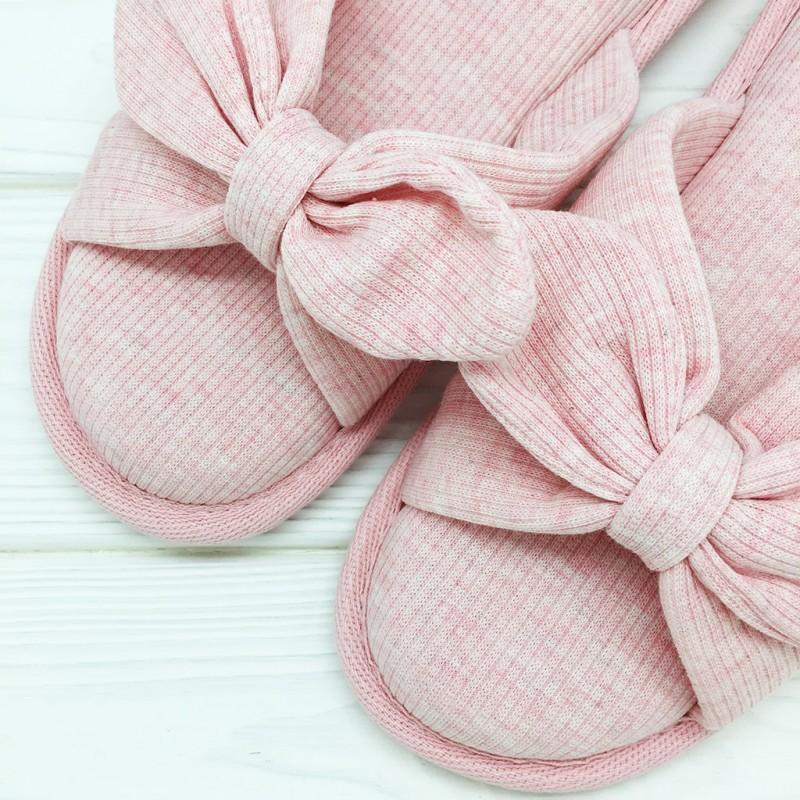 Тапочки «Трикотажные бантики» розовые