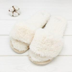 Тапочки Halluci «Мех» белые