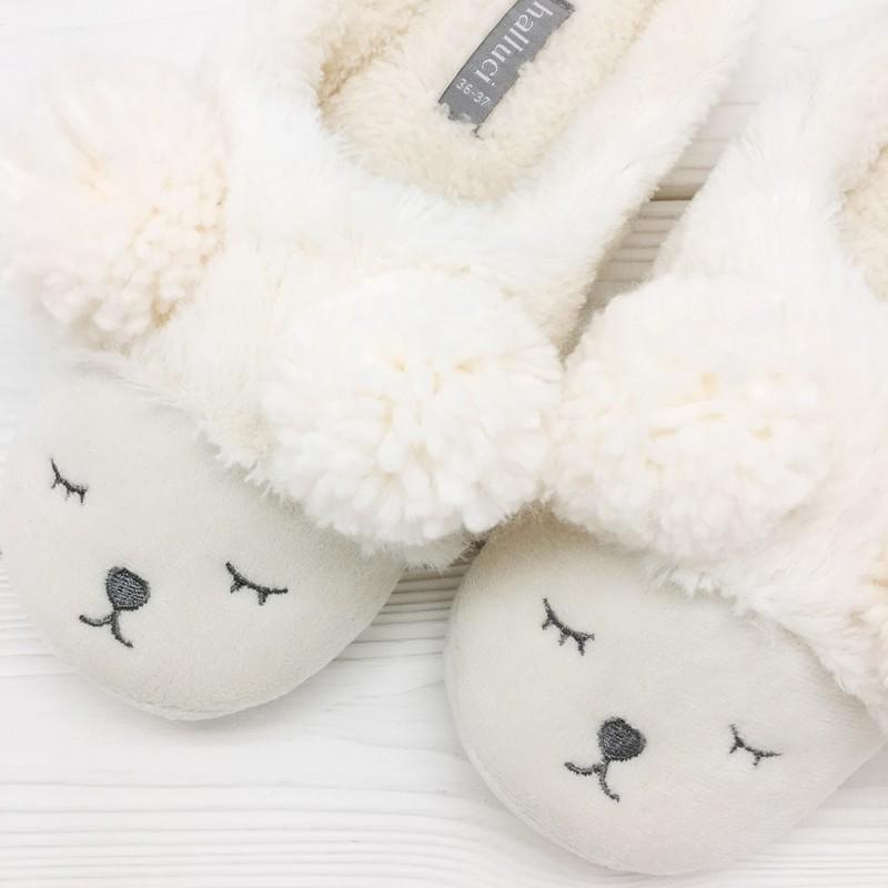 Тапочки Halluci «Мишки» белые