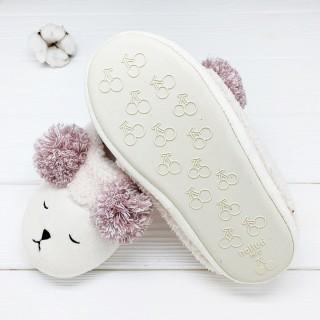 Тапочки «Мишки» кремовые с задником