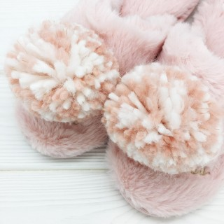 Тапочки Halluci «Помпончики I'm a Princess» розовые