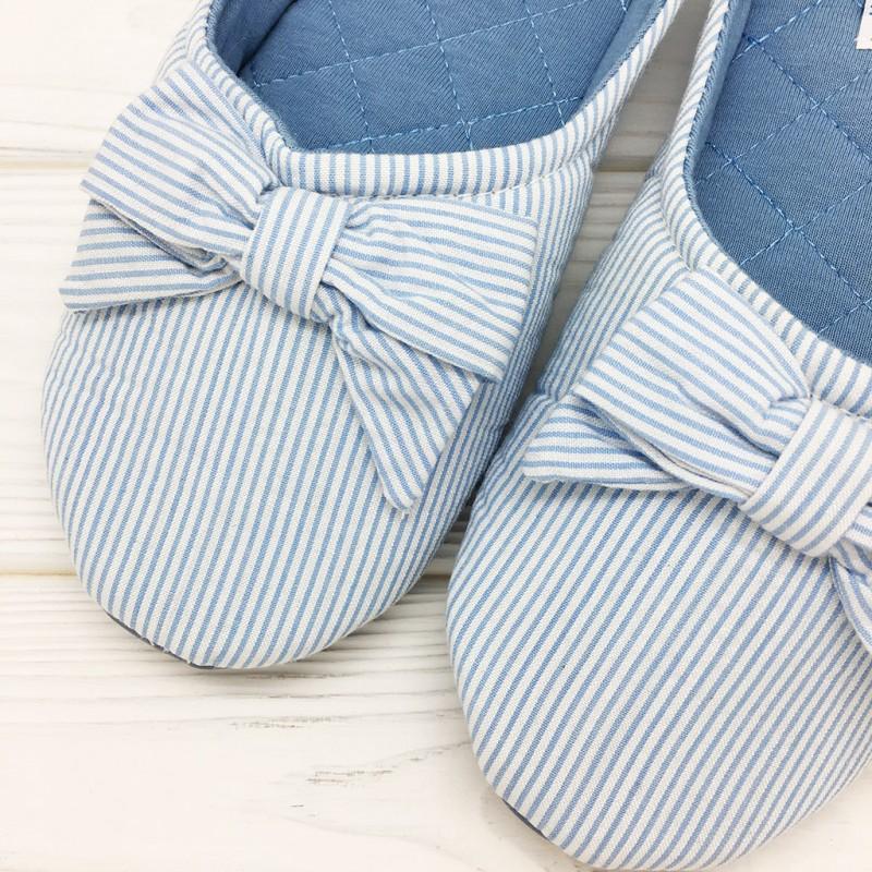 Тапочки Halluci «Полосатики» голубые