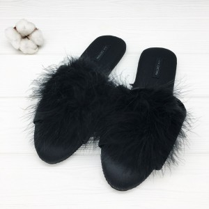Тапочки Halluci «Мохнатики» чёрные
