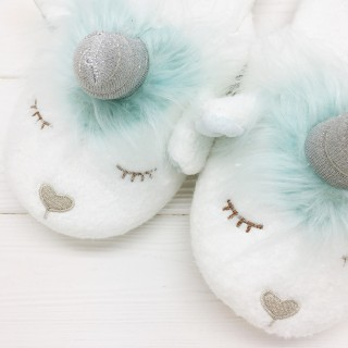 Тапочки Halluci «Единороги» голубые