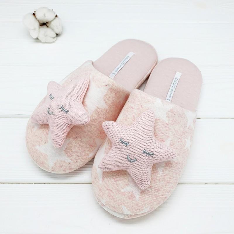 Тапочки Halluci «Объемные звезды» розовые