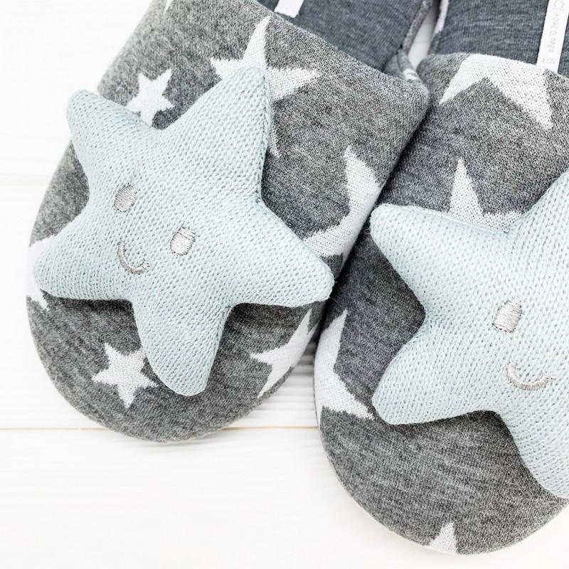 Тапочки «Объемные звезды» серые