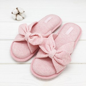 Тапочки Halluci «Трикотажные бантики» розовые