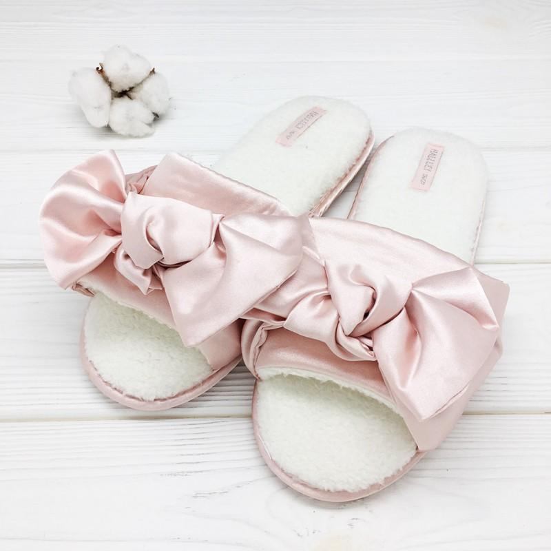 Тапочки Halluci «Шёлковые бантики» розовые