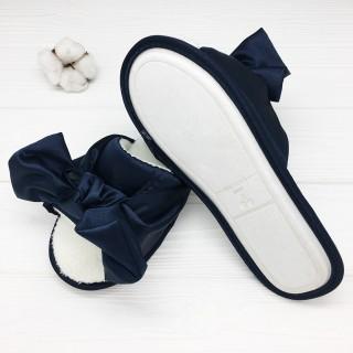 Тапочки Halluci «Шёлковые бантики» синие