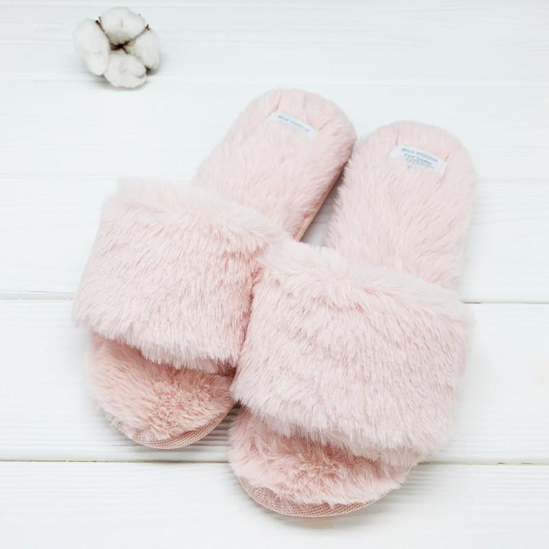 Тапочки Halluci «Мех» розовые