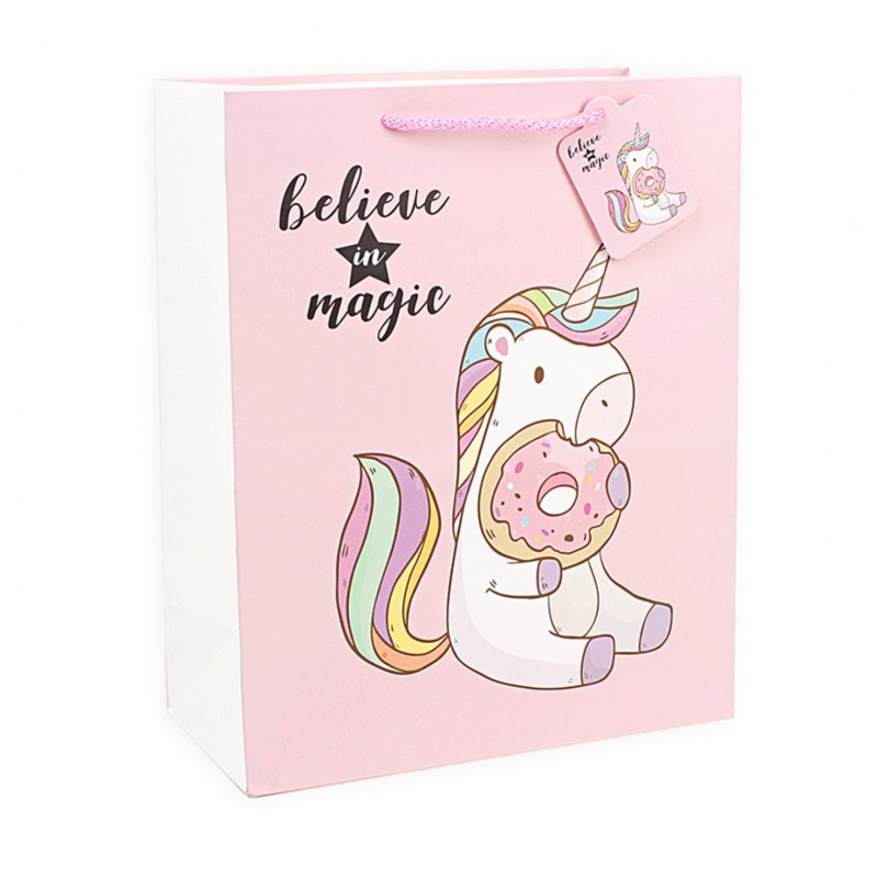 Подарочный пакет Halluci «Единорог с пончиком» M