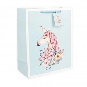 Подарочный пакет Halluci «Единорог» голубой L