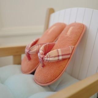 Тапочки «Шотландка» персиковые