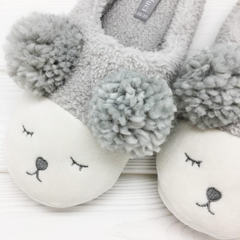 Тапочки «Мишки» серые мужские