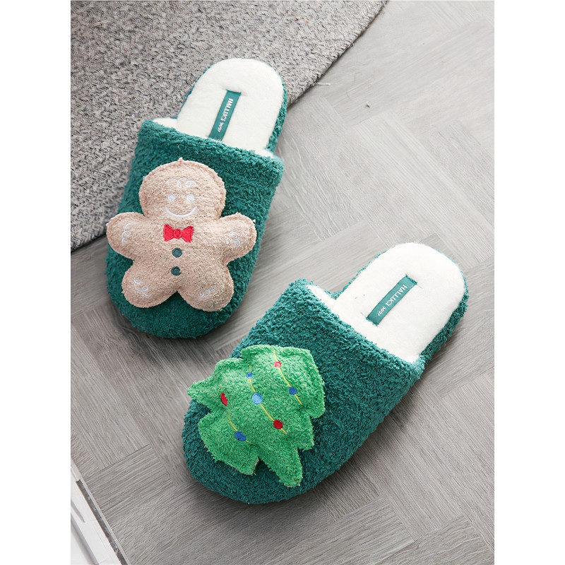 Тапочки «Имбирный человечек» зеленые
