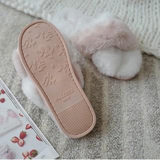Тапочки «Меховые крестики» бело-розовые