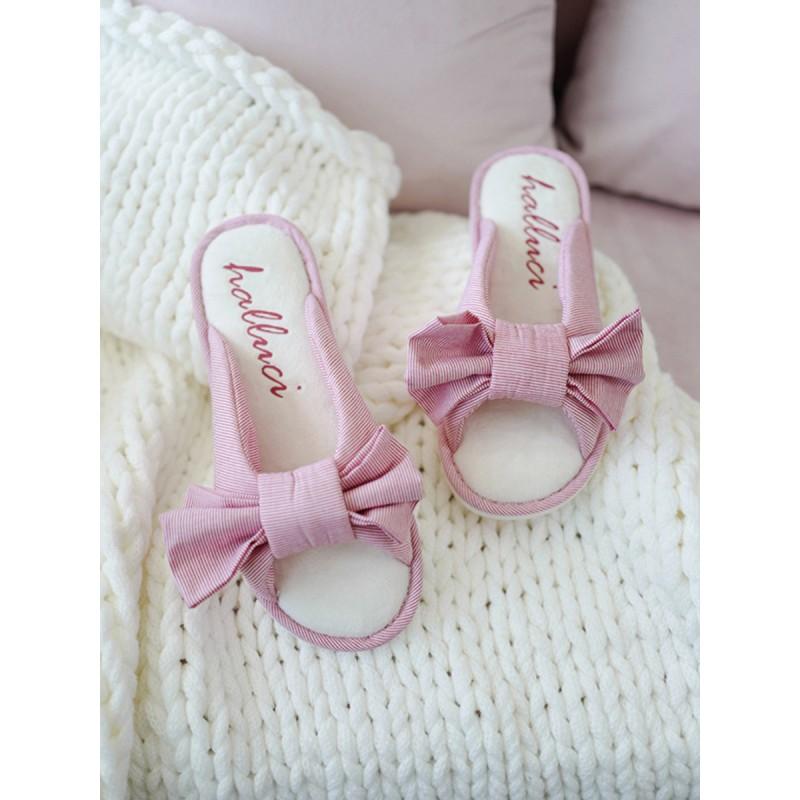 Тапочки «Полосатые бантики» розовые