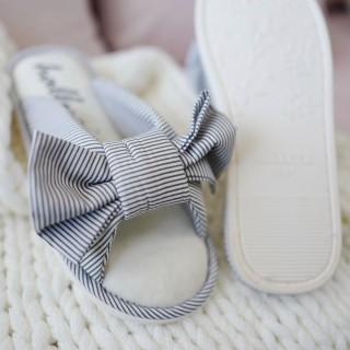 Тапочки «Полосатые бантики» серые