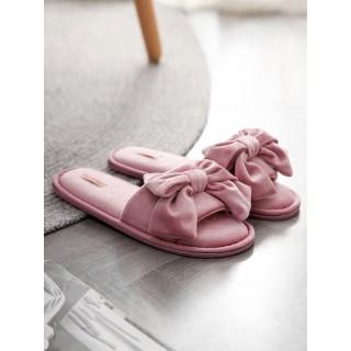 Тапочки «Бархатные бантики» розовые