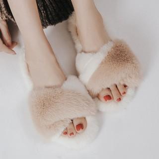 Тапочки «Мех» бело-бежевые