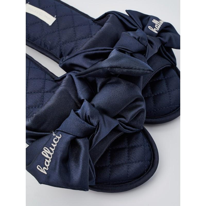 Тапочки «Атласные бантики» синие
