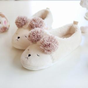 Тапочки Halluci «Мишки» кремовые с задником