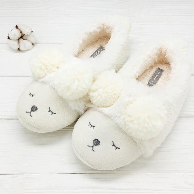 Тапочки Halluci «Мишки» белые с задником