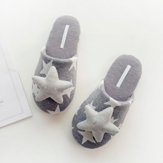 Тапочки Halluci «Объемные звезды» серые